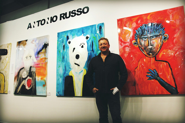 Exhibitor Antonio Russo by his artwork.