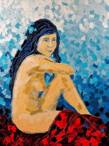 Sitting Nude - With Blue Flower by Anna Wode