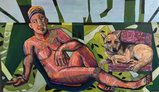 Woman With Dog by Julia Christian