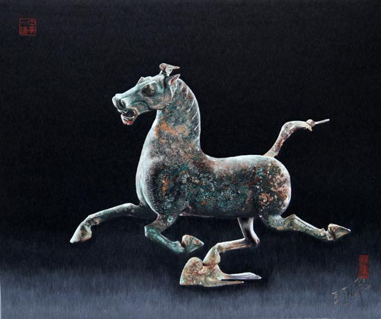 Galloping Horse Treading On a Flying Swallo by Wang Lihua